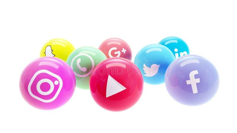 Redes sociais em bolas lustradas brilhantes para o mercado social dos meios