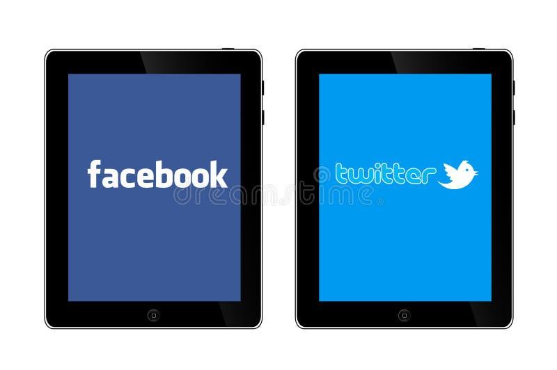 Redes sociais em IPad 3 ilustração do vetor
