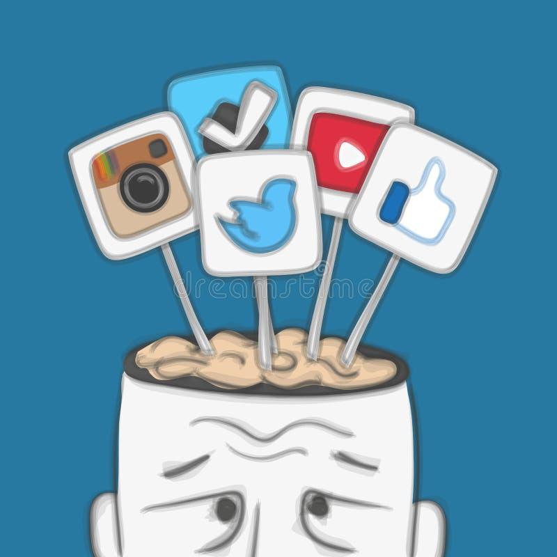 Redes sociales en cerebro humano ilustración del vector