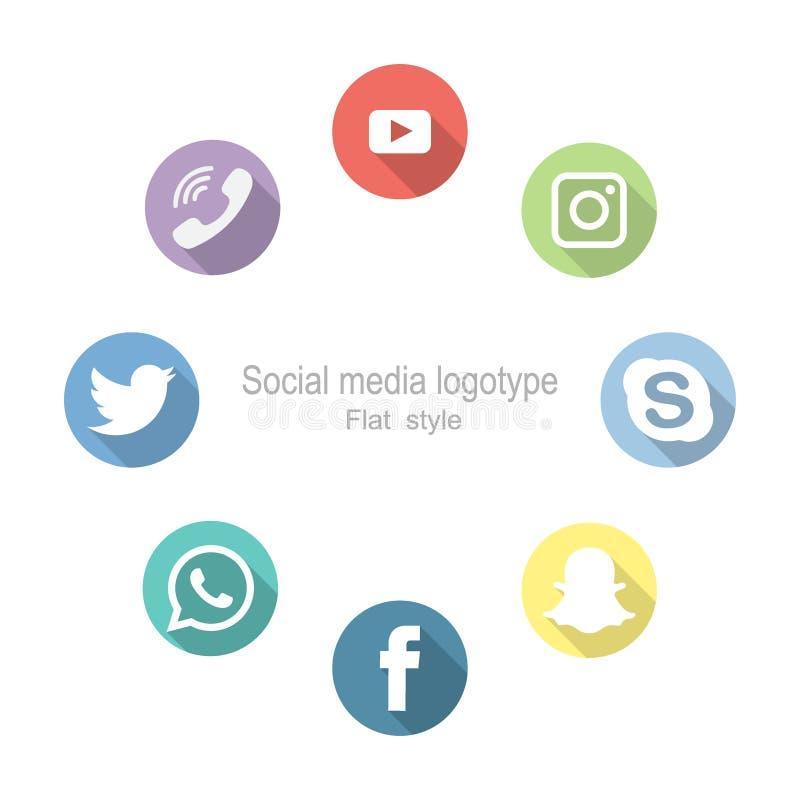 Redes sociales Fije los iconos Ilustración del vector Estilo plano ilustración del vector