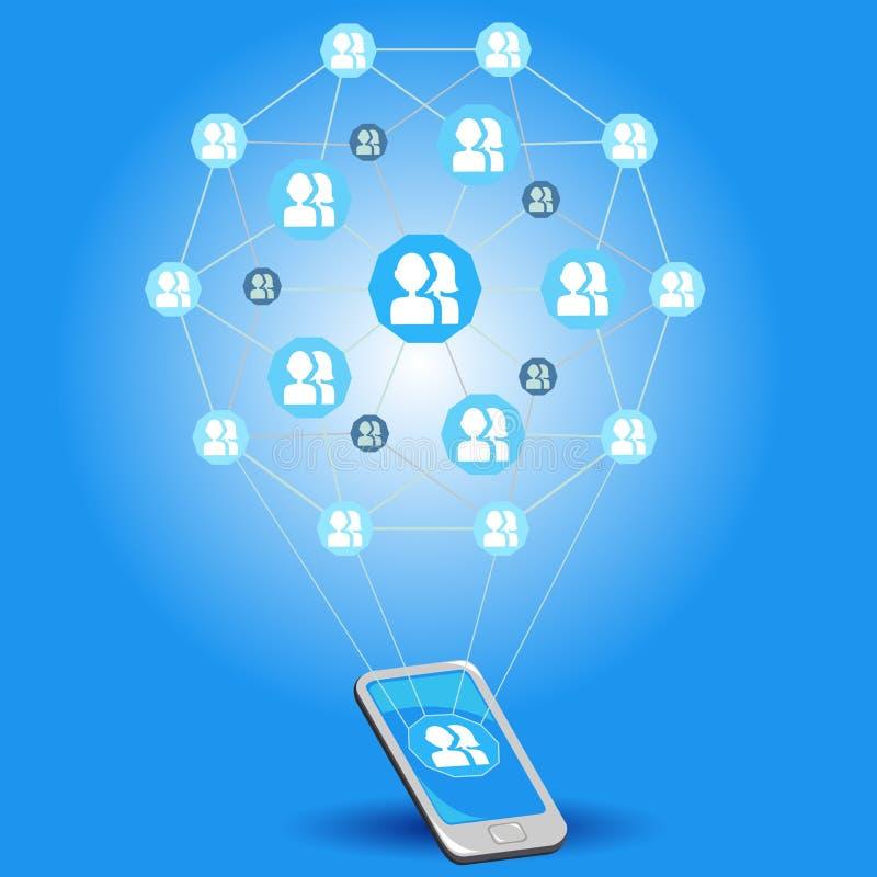 Redes sociales móviles ilustración del vector