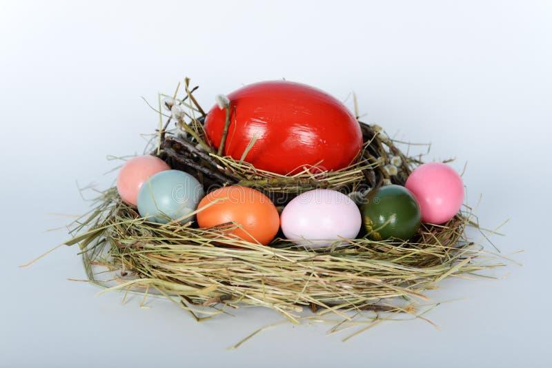 Redet med den stora strutsen och fega easter ägg arkivbilder