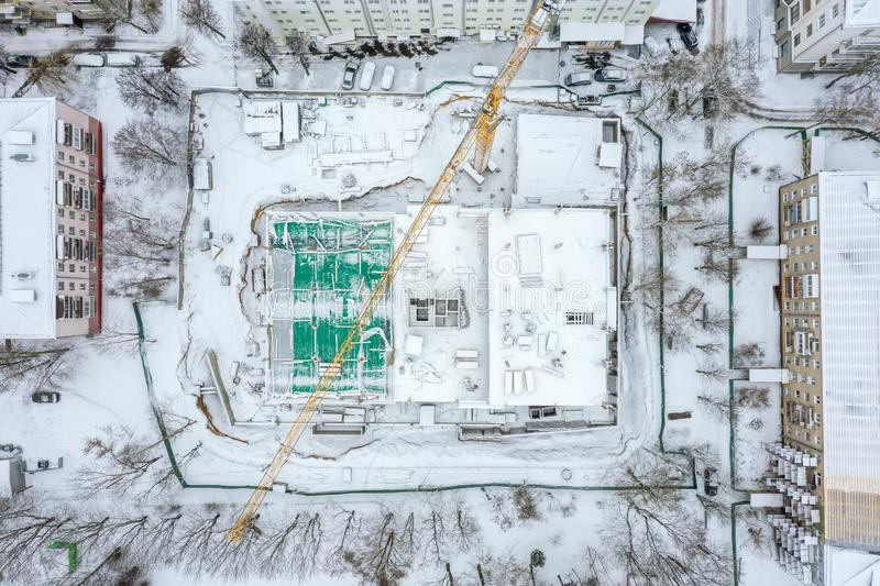 Redevelopment of city residential area. aerial view stock images