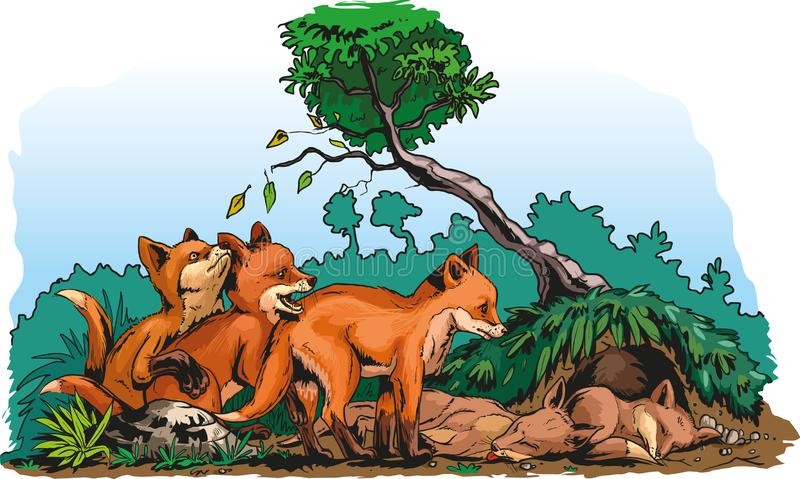 Redfox cubs. Vector cartoon illustration of red foxes cubs beside their lair royalty free illustration
