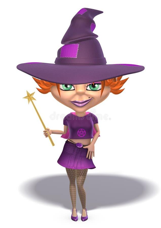 redhat della strega di 3d Halloween immagini stock