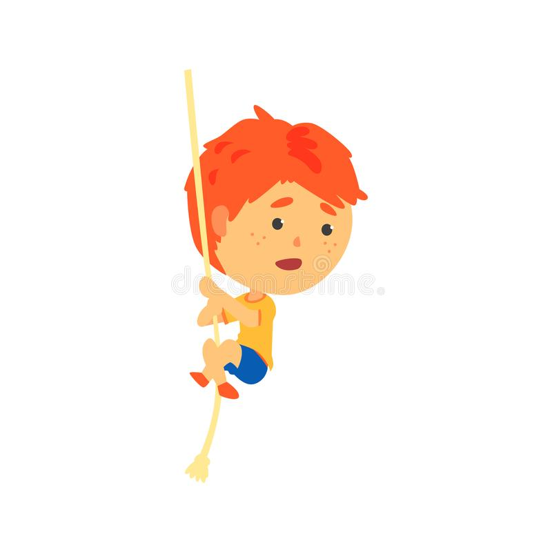 Redhead αγόρι που αναρριχείται επάνω στο σχοινί, διανυσματική απεικόνιση κινούμενων σχεδίων σωματικής δραστηριότητας παιδιών απεικόνιση αποθεμάτων