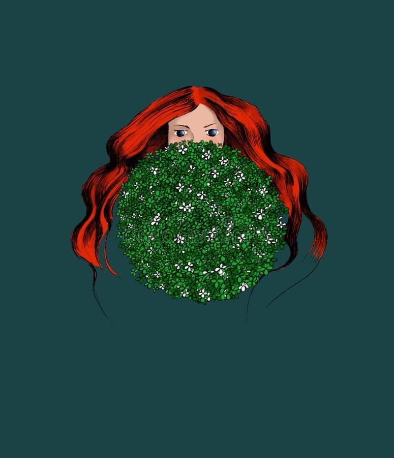 Redhead γυναίκες με Cloverleaves Σχεδιασμένος για την κάρτα χαιρετισμών, ευχαριστήστε εσείς λαναρίζει, κάρτα ημέρας μητέρων κ.λπ. απεικόνιση αποθεμάτων