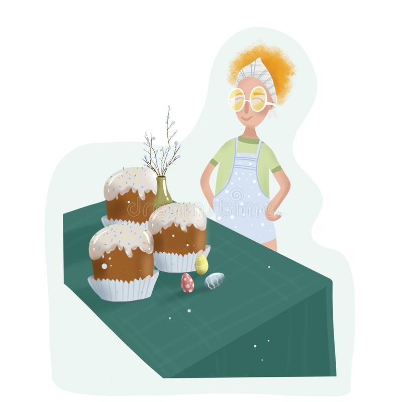 Redhead κορίτσι στους αρχιμάγειρες που γίνονται τα κέικ Πάσχας για τις διακοπές Πάσχα απεικόνιση αποθεμάτων