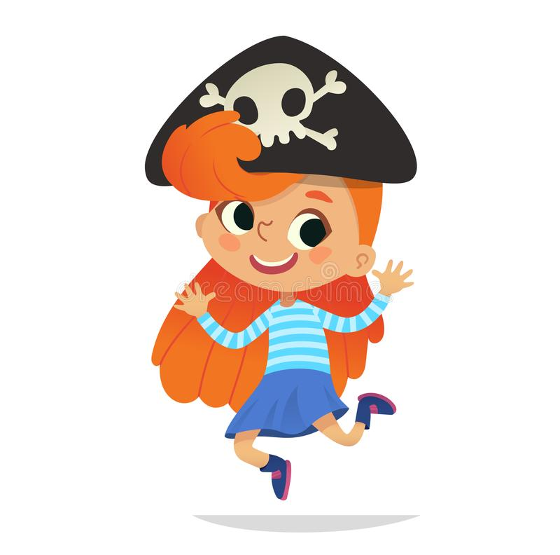 Redhead нося взведенную курок шляпу при череп танцуя маленький пират Ребенк девушки в танцах и смеяться над костюма хеллоуина иллюстрация штока
