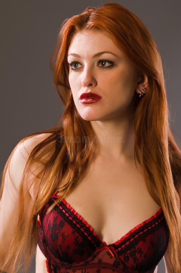 Download Redhead imagem de stock. Imagem de lingerie, face, underwear - 12807031