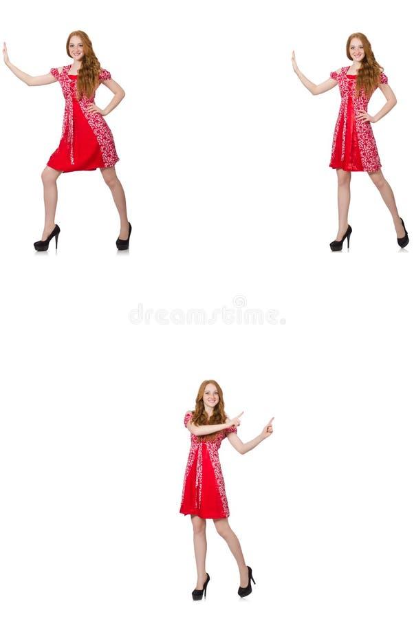 Женщина redhead в красном платье стоковые изображения
