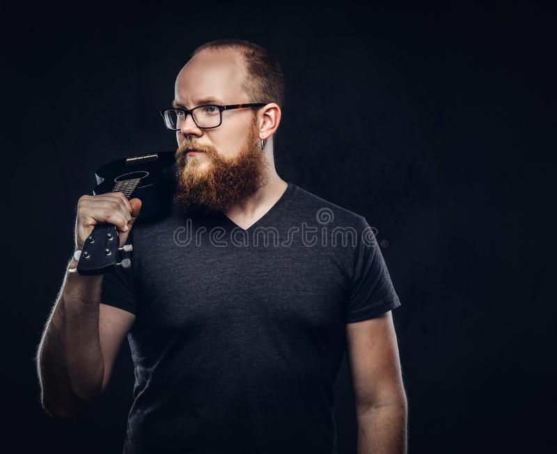 Redhead bearded male musician wearing glasses dressed in a gray t-shirt holds ukulele. Isolated on a dark textured. Redhead bearded male musician wearing glasses royalty free stock photos