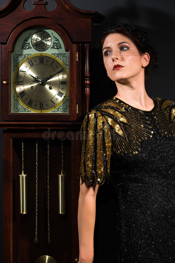 Download Redhead stock image. Image of time, woman, sequined, clock - 33467955