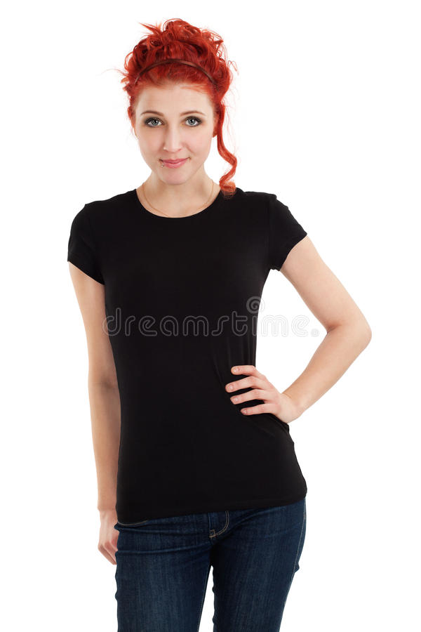 Download Redhead With Blank Black Shirt Stock Photo - Image of portrait, posing: 25625954