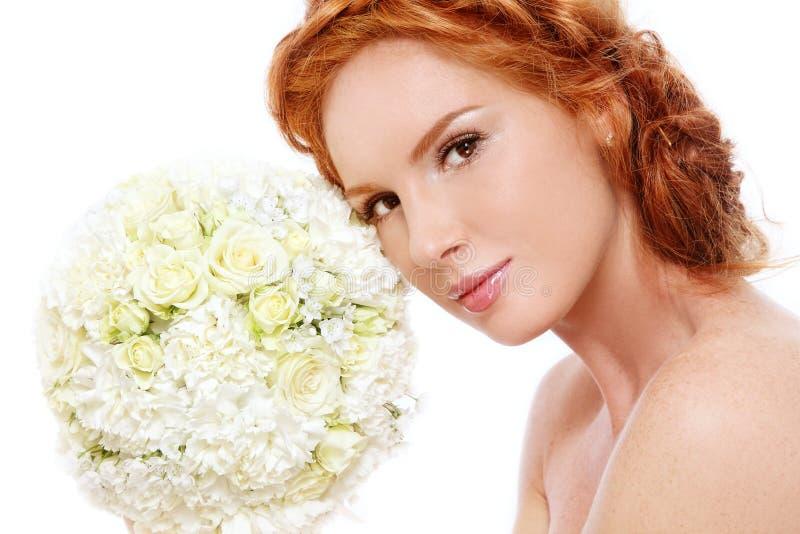 Redhead bride stock photo