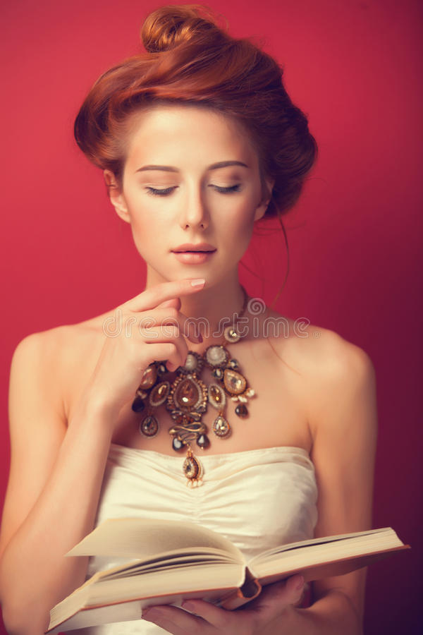 Redhead edwardian women stock photography