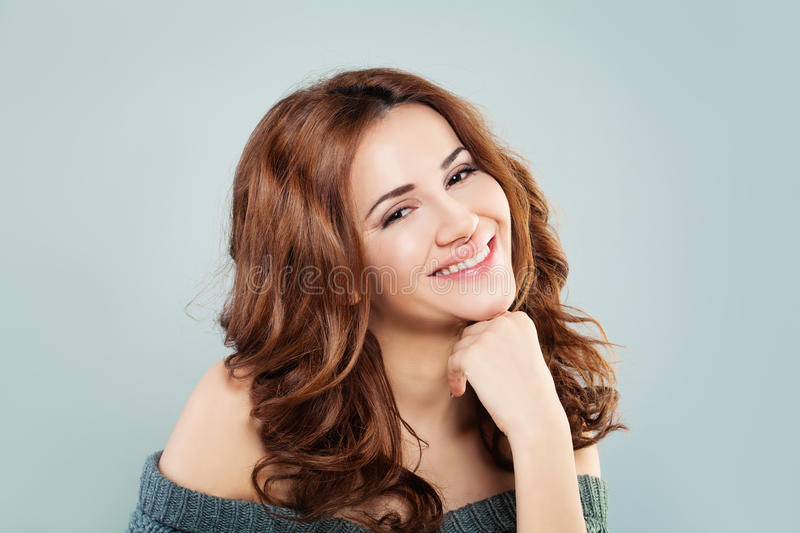Redhead Fashion Model Woman Smiling. Happy Redhead Fashion Model Woman Smiling royalty free stock images