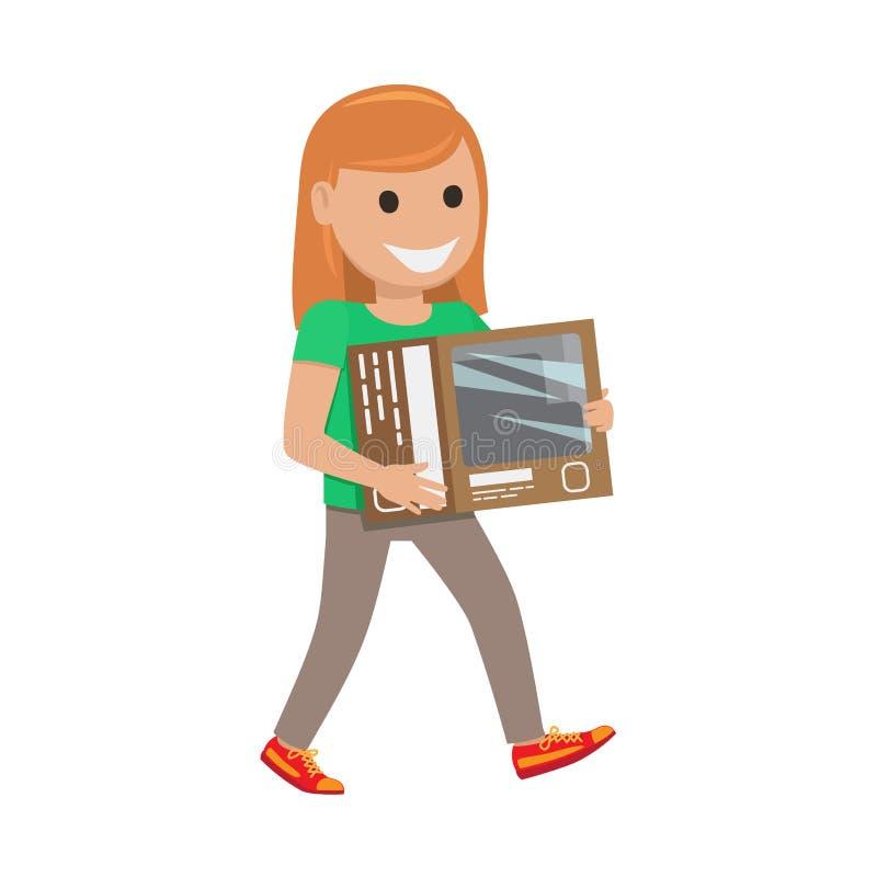 Redhead Girl with Box Illustration. Shopping Day stock illustration