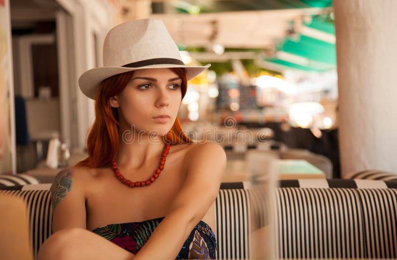 Redhead girl in casual outfit royalty free stock image