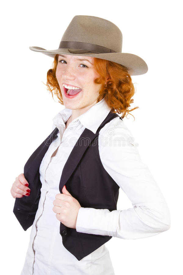 Redhead girl in cowboy hat stock images
