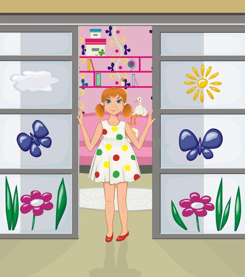 Download Redhead Girl In The Doorway Of Her Room Stock Vector - Image: 25777392
