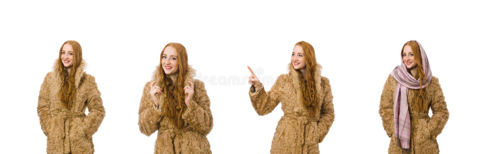 Redhead girl in fur coat isolated on white stock images