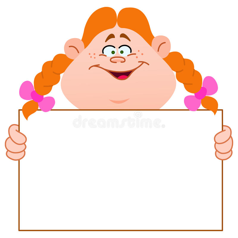 Download Redhead girl with sign stock vector. Illustration of birthday - 26570875