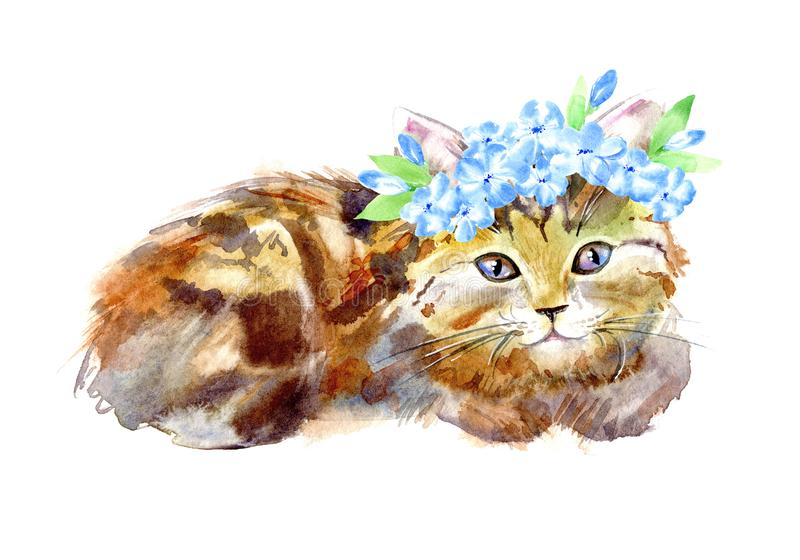 Redhead kitty with a wreath of blue flowers. Watercolor hand drawn illustration.Postcard with cat on a white background vector illustration