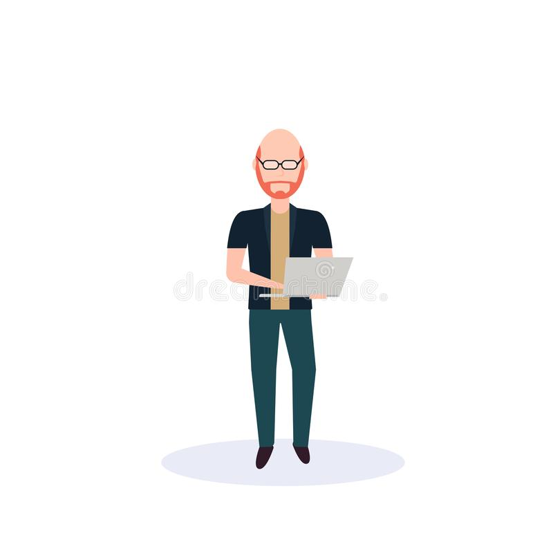 Redhead man using laptop standing pose isolated bald head faceless silhouette male cartoon character full length flat. Vector illustration royalty free illustration