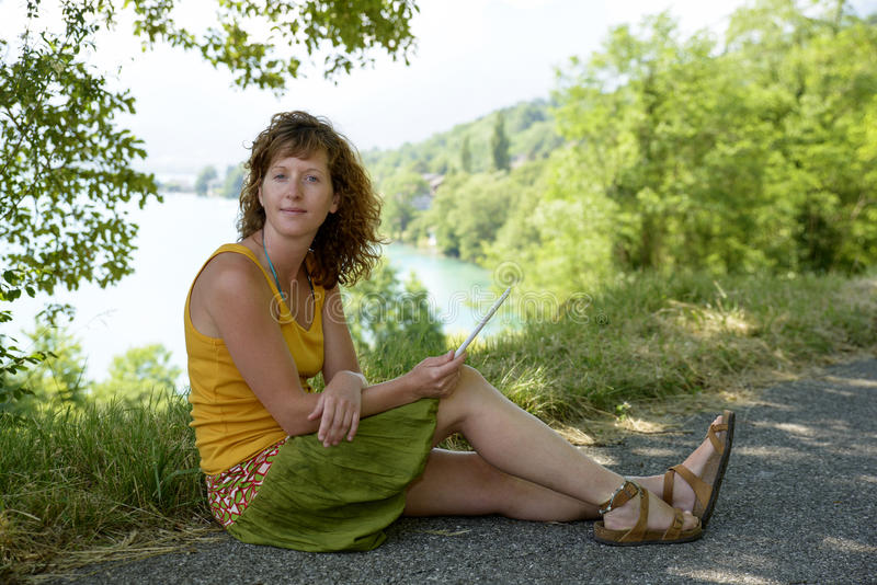 Redhead And Natural Woman In Nature Stock Photo - Image of
