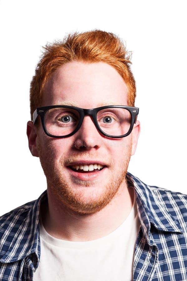 Redhead nerd stock photos