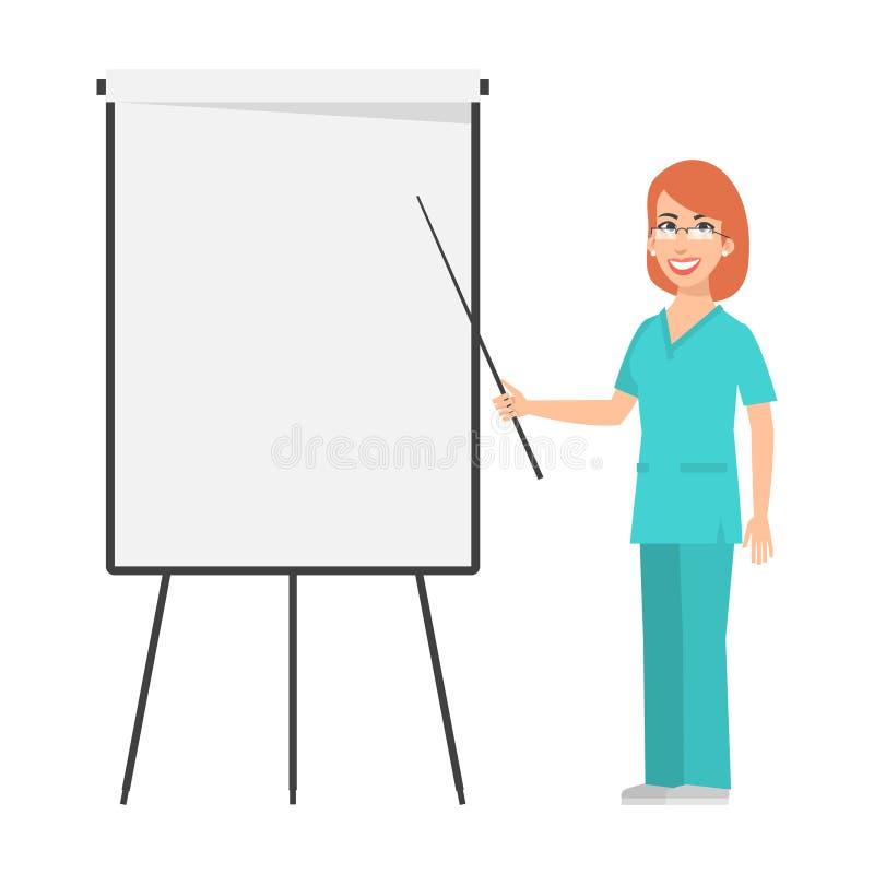 Redhead nurse points to flip chart royalty free illustration