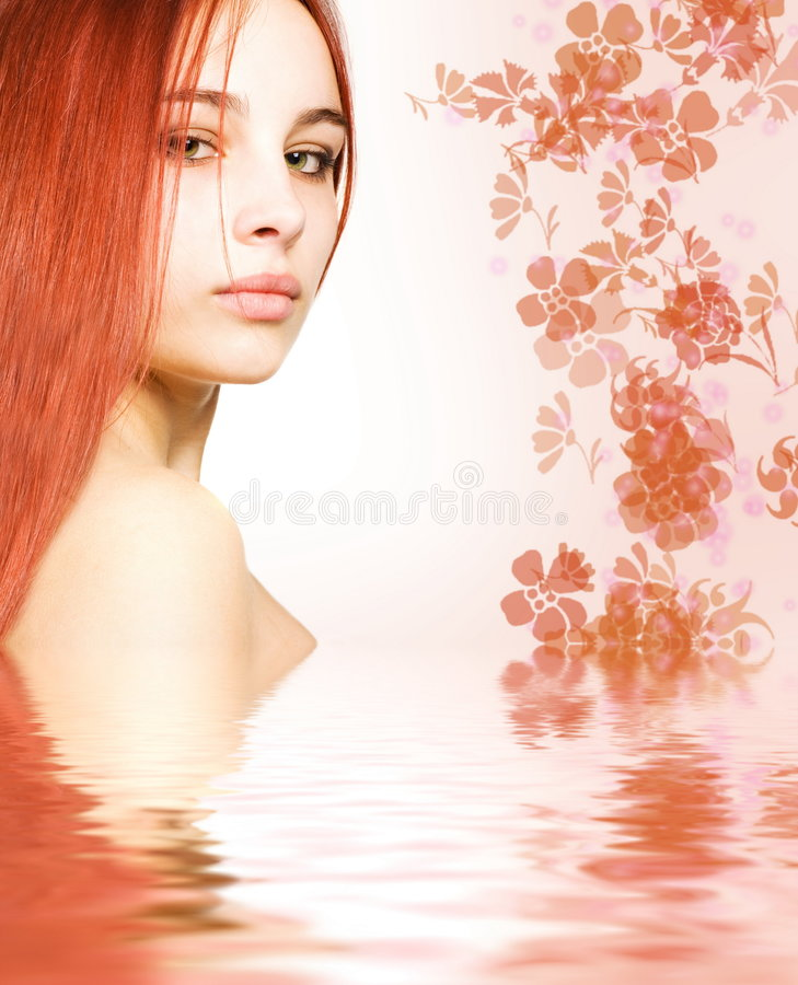 Redhead in rendered water stock images