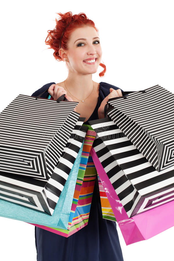 Download Redhead shopaholic stock image. Image of grin, happiness - 23277515