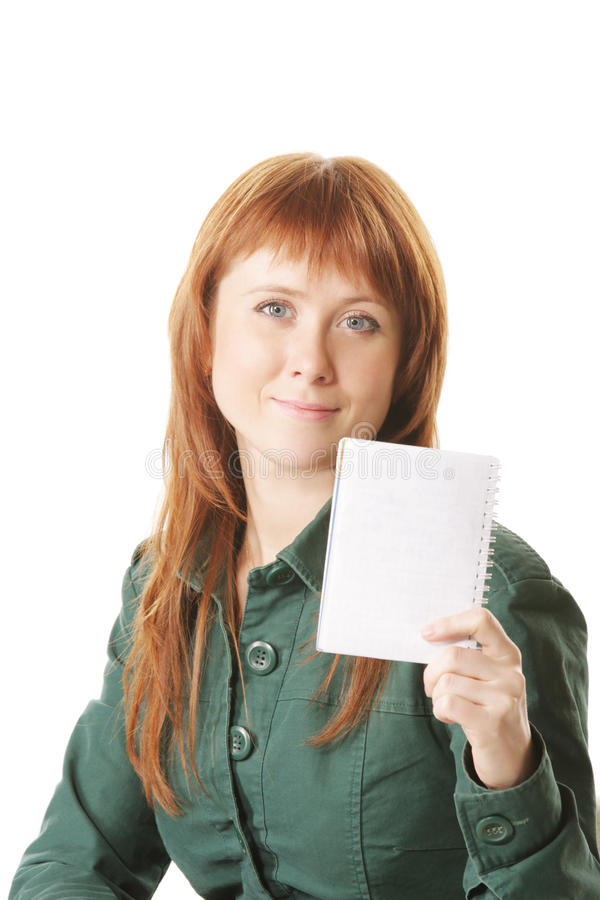 Redhead showing notepad stock photos