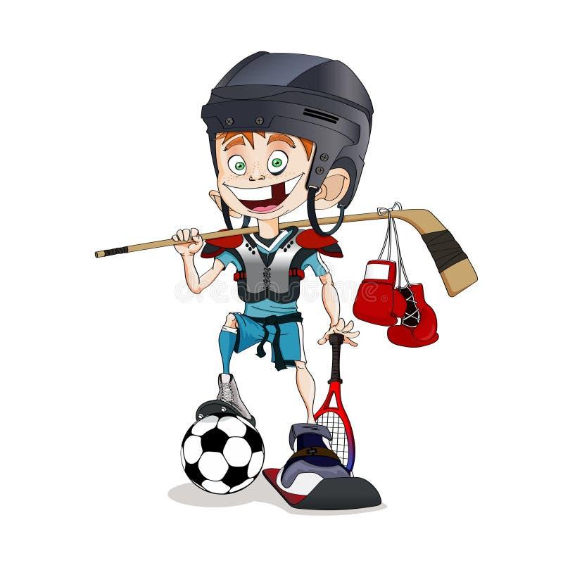 Redhead toothless ολόγυρο αθλητικό αγόρι με πολλούς διαφορετικός αθλητικός εξοπλισμός απεικόνιση αποθεμάτων