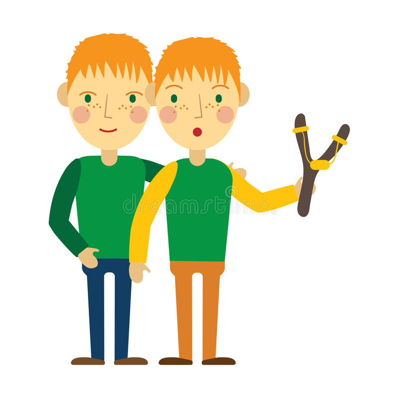 Redhead twins with freckles. royalty free illustration