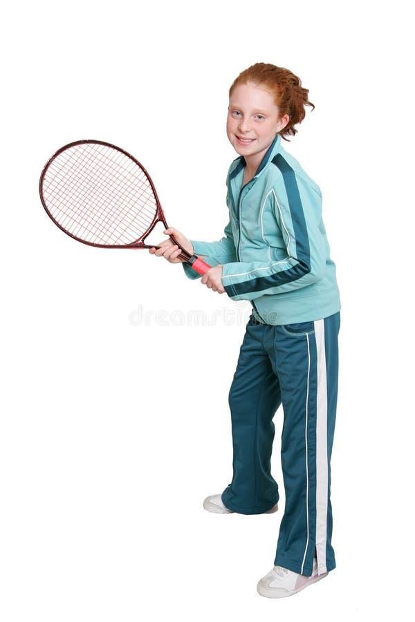 Redhead- und Tennisschläger lizenzfreie stockfotografie