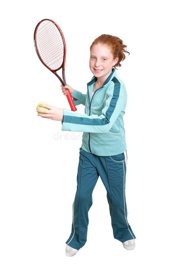 Redhead- und Tennisschläger lizenzfreie stockbilder