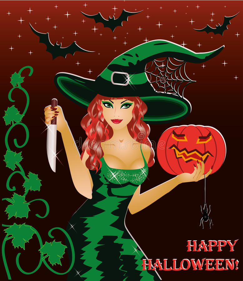 Redhead witch with a knife stock illustration