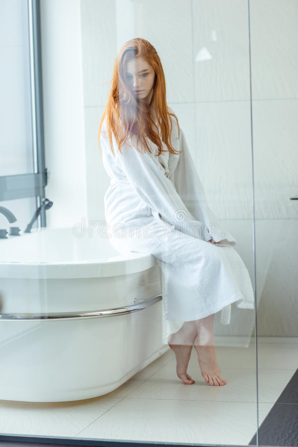 Redhead women in bathtub