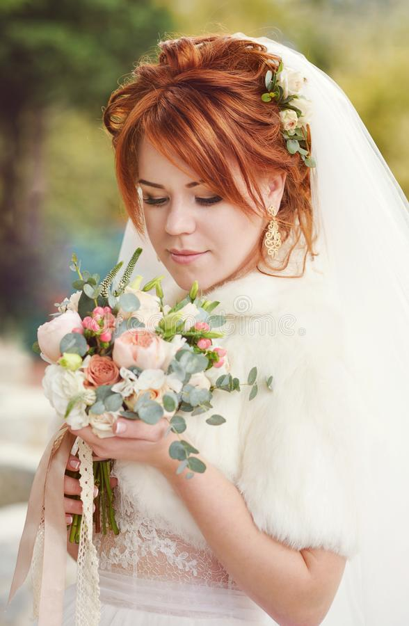 Redhead young bride royalty free stock photography