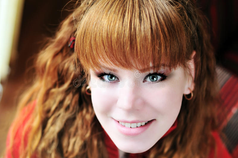 Redhead young girl royalty free stock photo