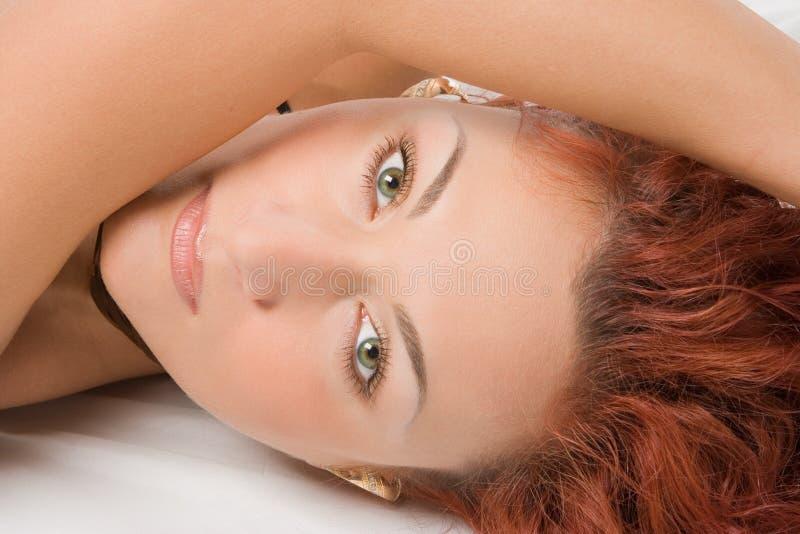 redheaded övre för tät framsida royaltyfri foto