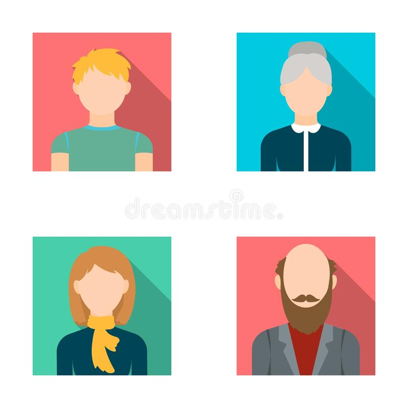 Redheaded подросток, женщина с шарфом, седая бабушка, дед с бородой Собрание воплощения установленное иллюстрация вектора