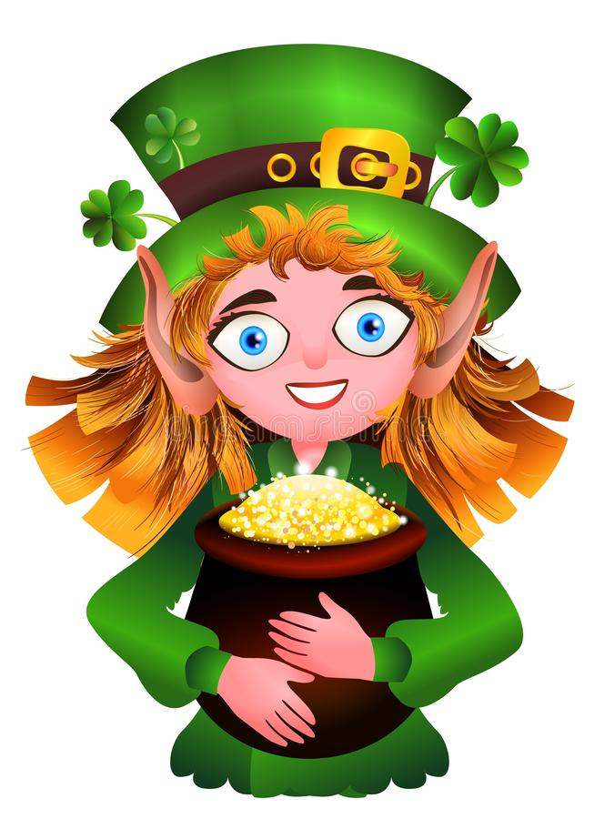 Leprechaun with a pot of gold and clover royalty free illustration