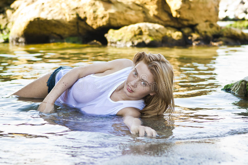 Download Redheaded Girl In A Wet White T-shirt Stock Image - Image: 21021593