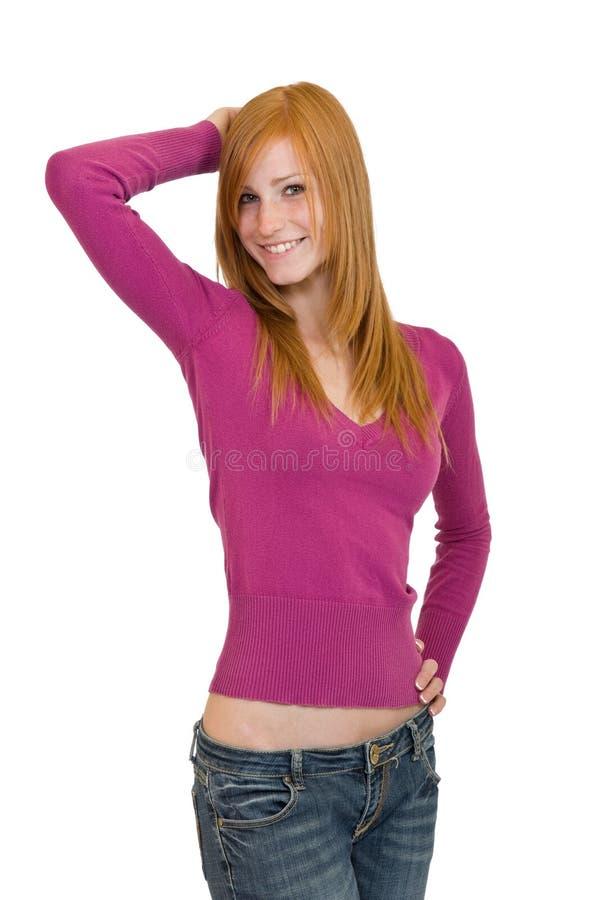 Redheadfrauenaufstellung stockfoto