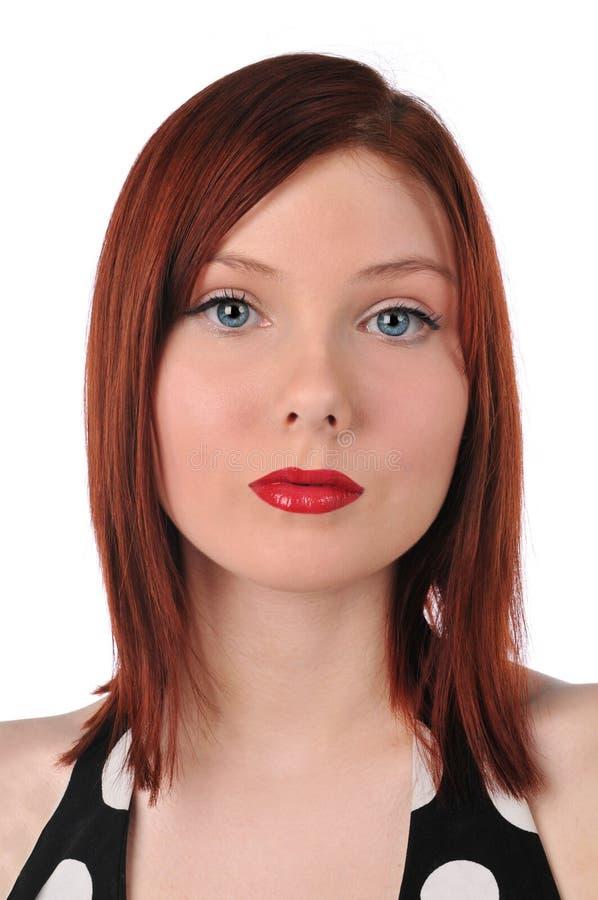 redheadkvinnabarn royaltyfri foto