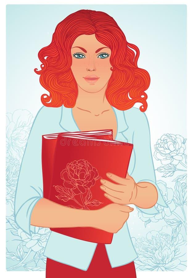 Redheadmädchen-Holdingbücher. Vektorabbildung. vektor abbildung